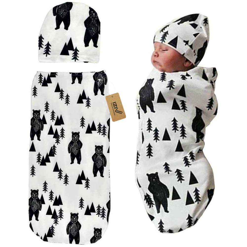 iZiv Newborn Swaddle Sack with Baby Hat Sleeping Sack Soft Stretchy Cotton Newborn Photography Prop Baby Shower Gift for 0-3 Months Baby Boys Girls