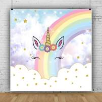 Laeacco 5x5ft Vinyl Photography Backdrop Unicorn Cute Rainbow Colorful Stars Smilling Face Sky Clouds Background Child Adults Portraits Backdrop