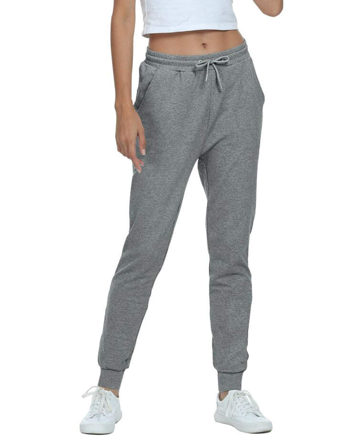TODOLOR Women's Workout Sweatpants Cotton Joggers Pants Track Cuff Drawstring Lounge Sweat Pants with Pockets