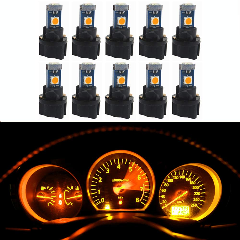 WLJH 10 Pack Yellow Canbus T5 Led Bulb 2721 37 74 Wedge Lamp PC74 Twist Sockets Dash Dashboard Lights Instrument Panel Cluster Leds Replacement