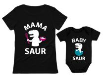 Mama Saur T-Rex Mom and Baby Saur Matching Outfit Mommy and Me Matching Set