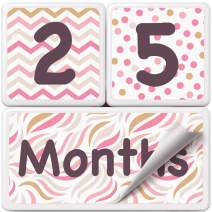 Baby Monthly Milestone Age Photo Blocks | Gold and Pink | Premium Solid Wood with Extra Stickers (Numbers & Words) | Complete Set of Weeks, Months, Years | Best Baby Shower Gift & Photo Sharing Prop