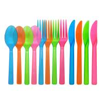Party Essentials Hard Plastic Cutlery Combo Pack, 64 Place Settings, Assorted Neon Brights