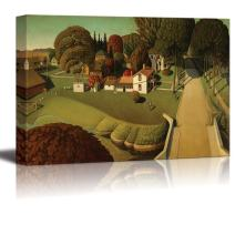 "wall26 - The Birthplace of Herbert Hoover, West Branch, Iowa by Grant Wood - Canvas Print Wall Art Famous Painting Reproduction - 24"" x 36"""