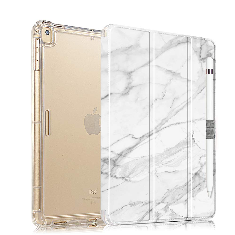 iPad 10.2 Case 2019 with Pencil Holder, Folio Stand Case for iPad 7th Generation, Protective Shockproof Case with Auto Sleep/Wake for iPad 10.2 inch, White Marble