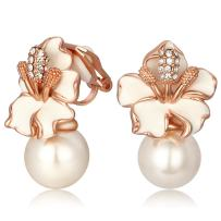 Kemstone Rose Gold/Silver Simulated Pearl Flower Clip On Earrings