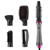 Hot Air Brush, Seesii 5-in-1Hair dryer and Volumizer, Multi-function One Step Salon Negative Ion, Curler Combo with Interchangeable Brush Head