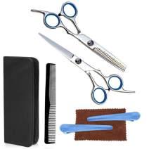mountop Professional Hair Cutting Scissors Set 6 Pcs, Hairdressing Scissors Kit, Hair Cutting Scissors,Flat Shear and Tooth Shear