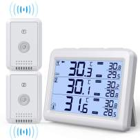AMIR Refrigerator Thermometer, 2 Channels Thermometer with 2 Wireless Sensors, Backlight, Audible Alarm Temperature Gauge for Freezer, Kitchen, Home (Battery not Included)