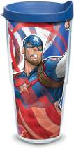 Tervis Marvel - Captain America Iconic Insulated Travel Tumbler with Wrap and Blue Lid, 24oz - Tritan, Clear