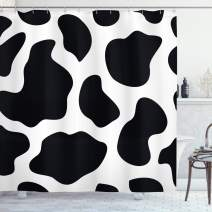 "Ambesonne Cow Print Shower Curtain, Hide of a Cow with Black Spots Abstract and Plain Style Barnyard Life Print, Cloth Fabric Bathroom Decor Set with Hooks, 84"" Long Extra, Black White"