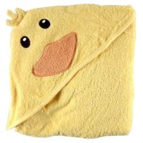Luvable Friends Unisex Baby Cotton Animal Face Hooded Towel, Duck, One Size