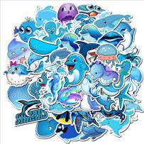 49 Pcs Ocean Stickers for Kids and Teens, Vinyl Marine Animals Stickers Pack for Laptop, Trendy Ocean Theme Stickers Cute Beach Animals Decals Pack for Water Bottle, Ipad, Car, Luggage Helmet, Truck