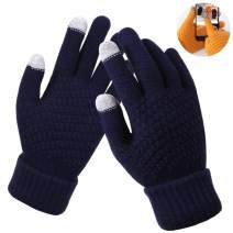 Winter Gloves for Women, Touch Screen Warm Gloves Soft Wool Lining Elastic Cuff