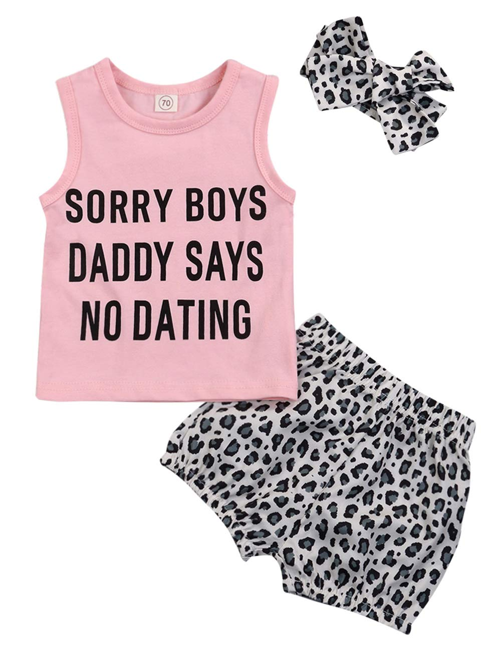 Baby Toddler Girls Funny Letter Print Matching Outfits Sleeveless Top Leopard Pants with Headband Clothes Set