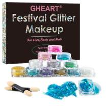 Festival Glitter, Chunky Glitter Gel for Body, Face, Hair, 12 Pack Glitter Makeup, Cheeks Nails Lips Eyeshadow Holographic Sparkling Decoration for Party, Masquerade, Christmas-Mixable, No Glue Need