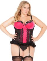 Coquette Women's Plus Queen Size Stretch Velvet and Fishnet Bustier with Faux Fur Trim