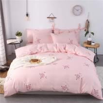 mixinni Pink Girls Duvet Cover Queen Pig Pattern Soft Cotton Duvet Cover Set Cute Kids Bedding Comforter Cover Sets Zipper Ties Teens-Ultra Soft, Breathable-Queen/Full Size