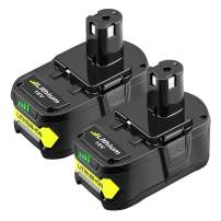 2 Pack P104 Lithium Battery for Ryobi 18v One+ Impact Drill Tools P102 P103 P105 P107 P108 P109 P122, LUMSING 6.0Ah Extended Li-Ion Replacement Battery Pack (6000mAh 2 packs)