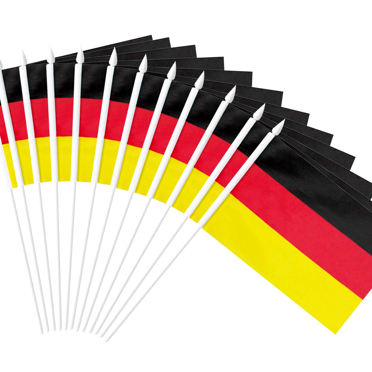 """Anley Germany Stick Flag, German 5x8 inch Handheld Mini Flag with 12"""" White Solid Pole - Vivid Color and Fade Resistant - 5 x 8 inch Hand Held Stick Flags with Spear Top (1 Dozen)"""