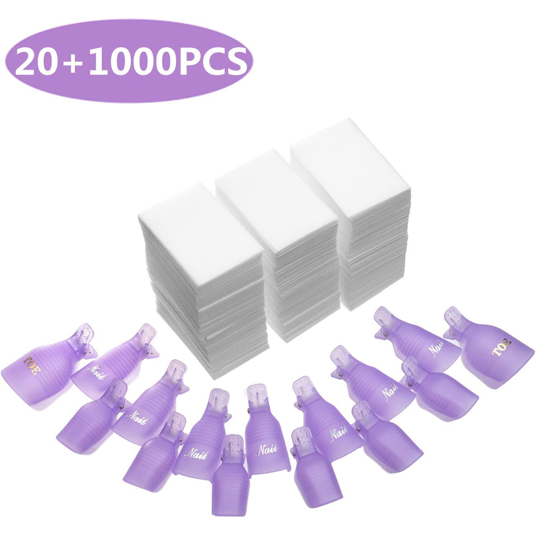 INFILILA Nail Polish Remover Clip Set-20pcs Nail Clip Caps Nail Soak Off Clips For Finger And Toe & 1000pcs Lintfree Nail Polish Remover Wipes For UV Gel Acrylic Nail Polish Removal