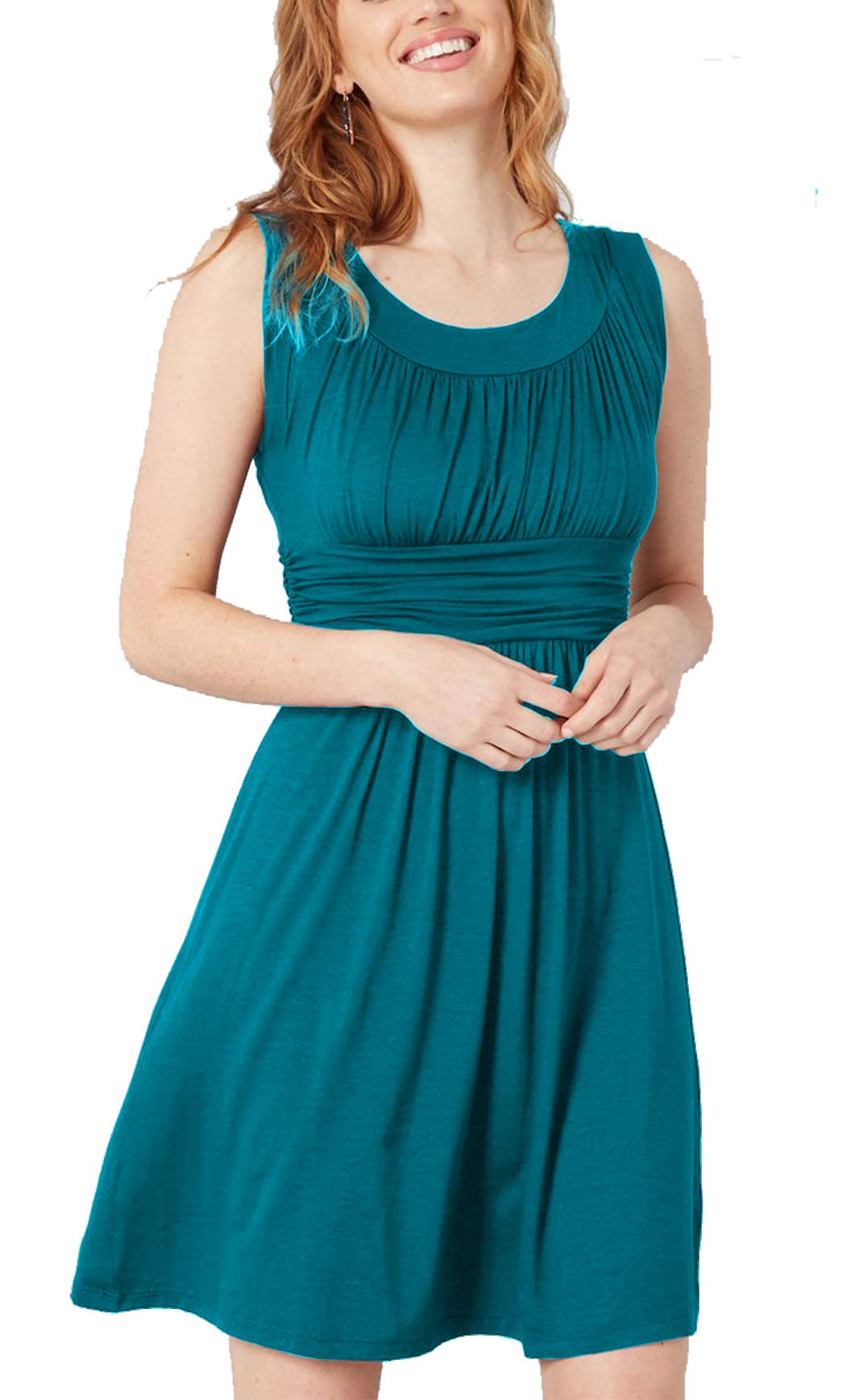 iGENJUN Women's Stretchy Sleeveless A-Line Dresses Swing Flared Cocktail Party Dress