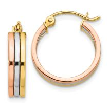 14k Tri Color Yellow White Gold Hoop Earrings Ear Hoops Set Fine Jewelry For Women Gifts For Her