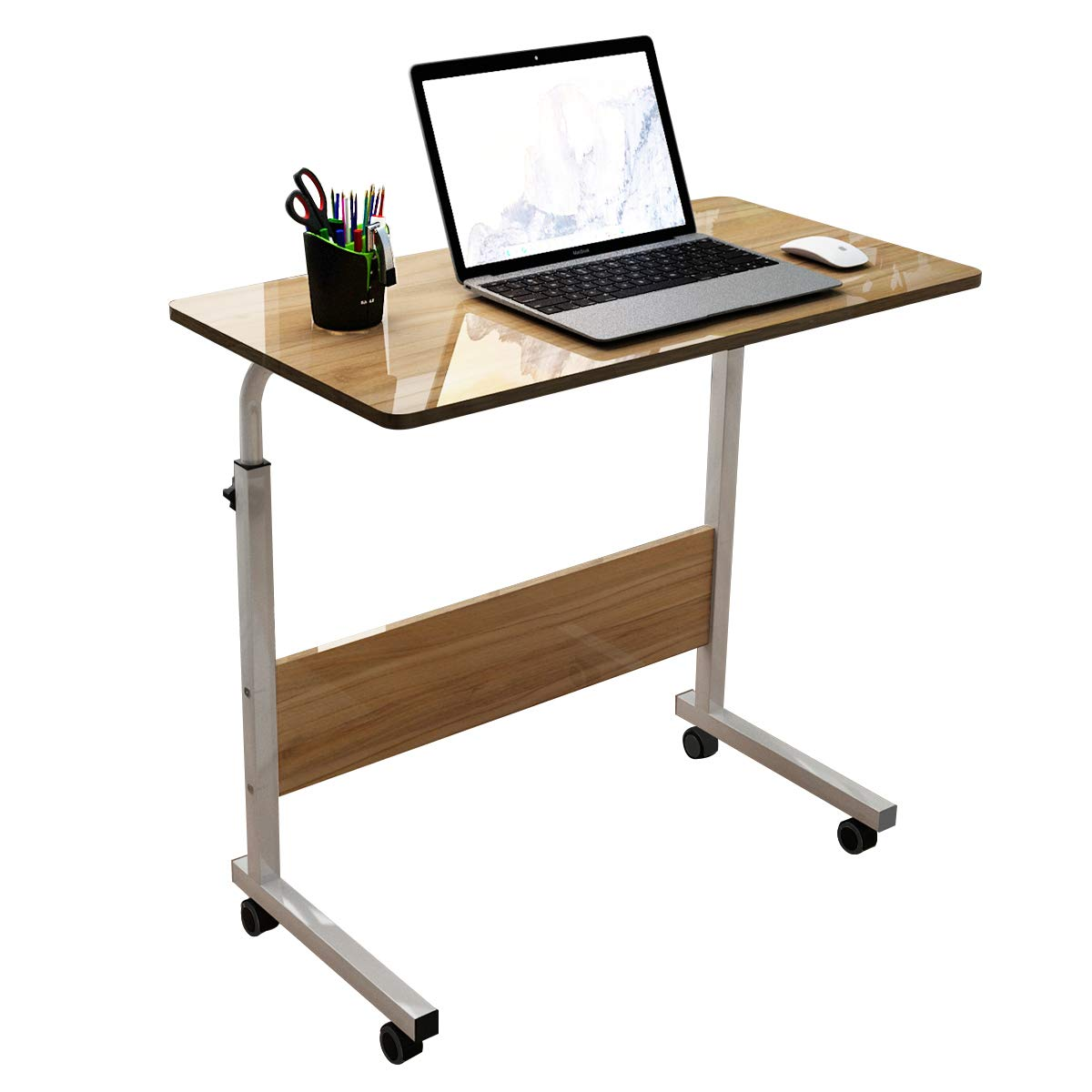 DlandHome 31.4 Inches Large Size Mobile Side Table, Adjustable Movable w/Wheels, Portable Laptop Stand for Bed Sofa, 05#1-80O Oak, 1 Pack
