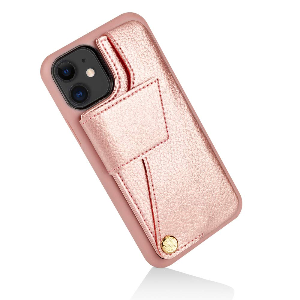 ZVEdeng iPhone 11 Wallet Case, iPhone 11 Case, 6.1 inch, iPhone 11 Case with Card Holder, Durable and Slim, iPhone 11 Leather Case Shockproof Handbag-Rose Gold