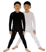 LANBAOSI 2 Packs Boys & Girls Long Sleeve Compression Shirts and Pants Set
