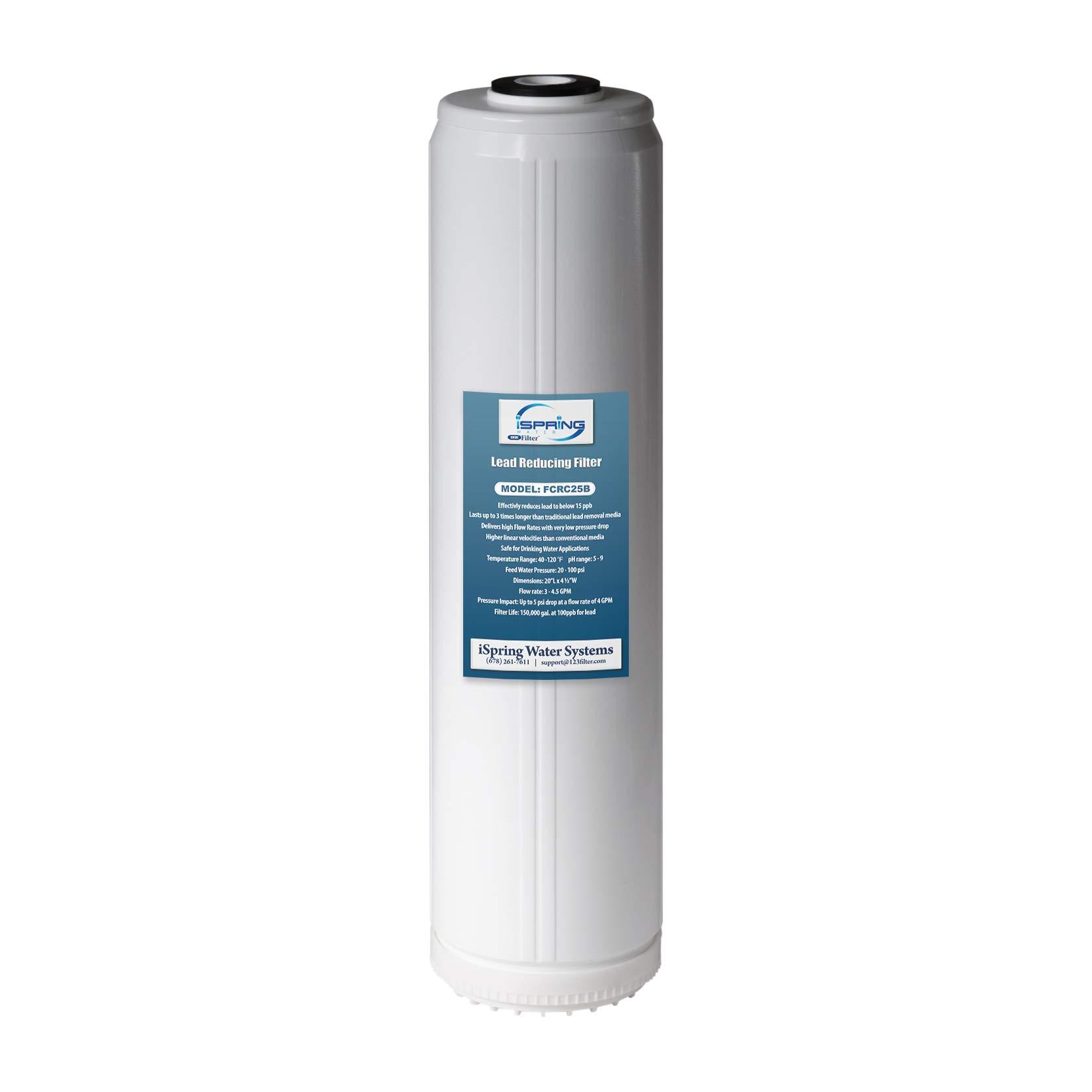 "iSpring FCRC25B High Capacity 20"" x 4.5"" Water Filter Replacement Cartridge Lead Reducing, Big Blue"