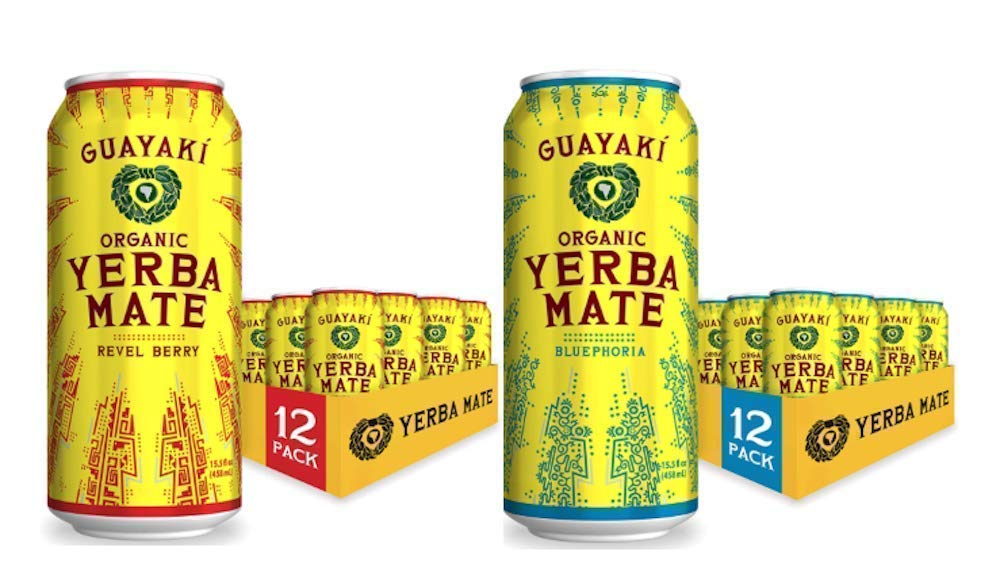 Guayaki Yerba Mate Organic Drink, Berry Variety Pack, 15 Ounce Cans, Pack of 24, Revel Berry and Bluephoria, 150 mg Caffeine, Alternative to Coffee, Tea and Energy Drinks