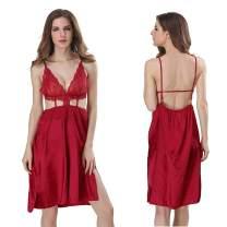 Women's Lingerie Sexy Strappy V Neck Sleepwear Satin Babydoll Nightwear Lace Chemise Mini Dress
