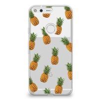 CasesByLorraine Google Pixel XL Case, Pineapple Pattern Clear Transparent Case Fruits Slim Hard Plastic Back Cover for Google Pixel XL (A01)