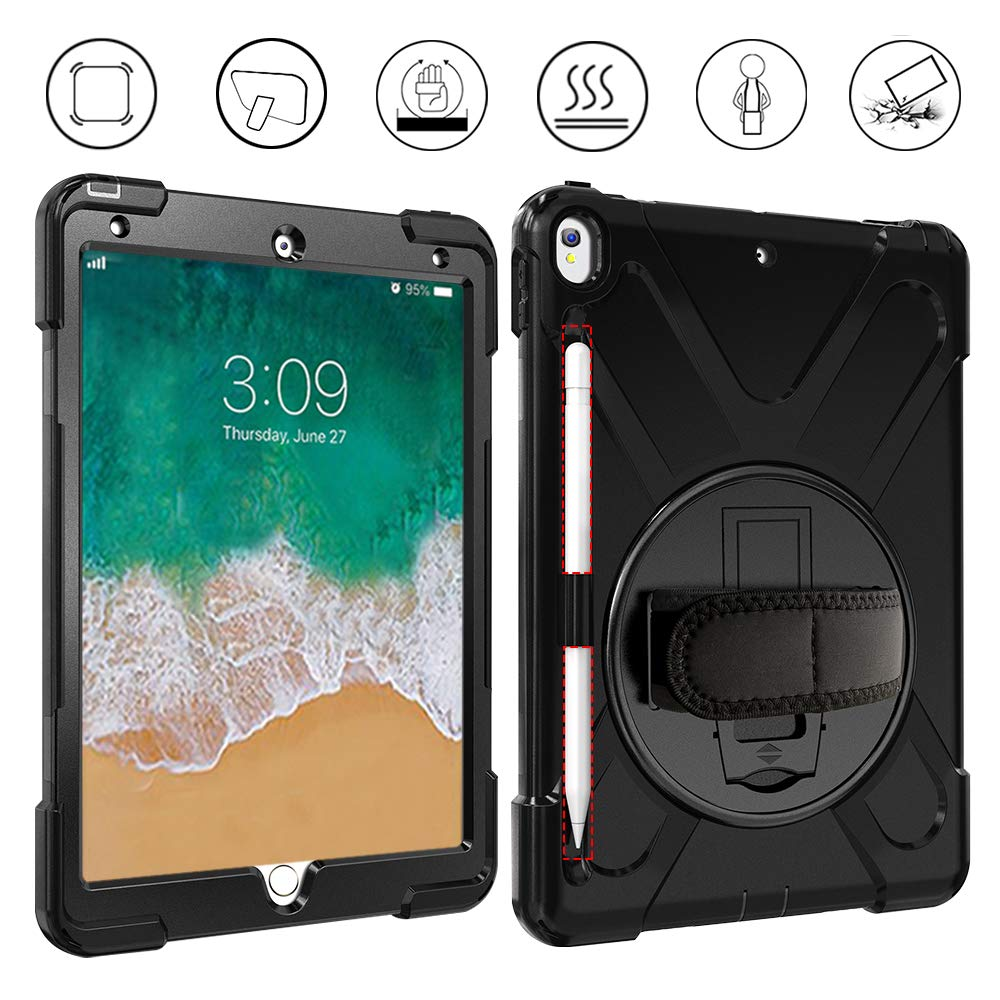 Gzerma - 2019 iPad Air 3 10.5-inch Case - with Pencil Holder, Shoulder/Hand Strap, 360 Degree Rotatable Kickstand, Shockproof Protective Cover for iPad Air 10.5 2019/iPad Pro 10.5 2017 Case, Black