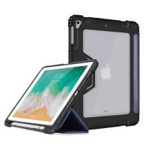Bigphilo SPA Series Clear iPad 9.7 Case 2018/2017, Also Fit iPad Air 1 Gen, PU Leather iPad Smart Folio with Pencil Holder, Heavy Duty Hard Cover for iPad 9.7 iPad 5th / 6th Generation, Dark Blue