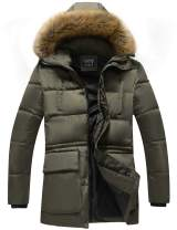 GLESTORE Men's Winter Hooded Cotton Coat Puffer Thick Padded Jacket