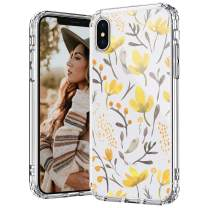 MOSNOVO iPhone Xs Max Case, Watercolor Floral Flower Pattern Printed Clear Design Transparent Plastic Hard Back Case with TPU Bumper Protective Case Cover for iPhone Xs Max