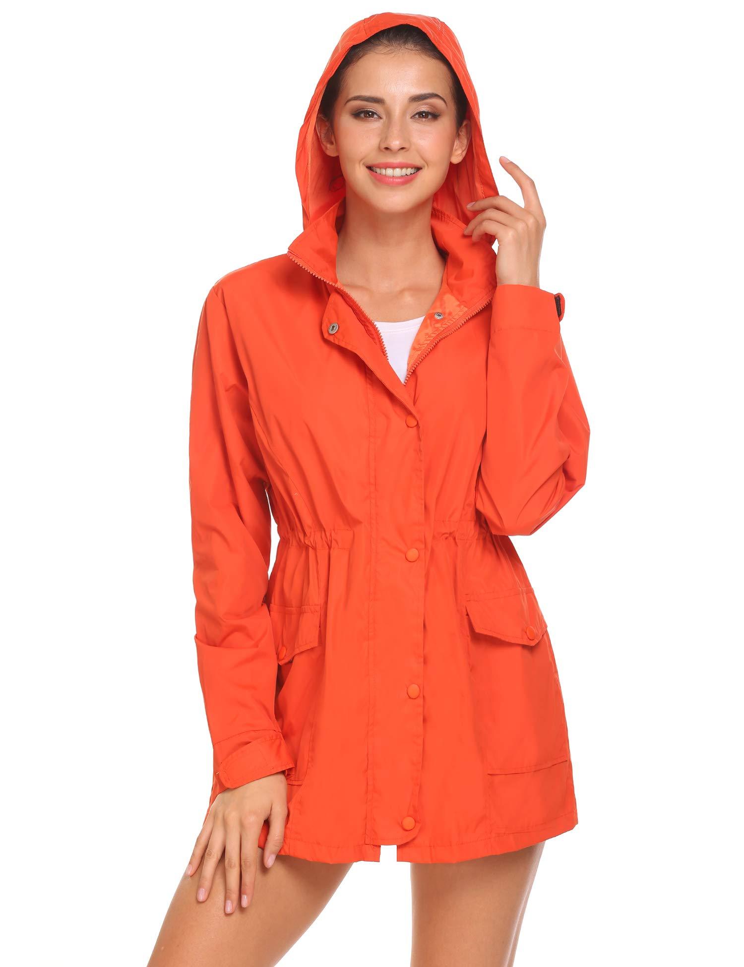 Beyove Womens Waterproof Raincoat Lightweight Rain Jacket Hooded Windbreaker with Pocket for Outdoor