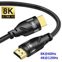 CABLEDECONN 8K HDMI Copper Cord Real UHD HDR 8K 48Gbps,8K@60Hz 4K@120Hz Support HDCP 3D HDMI Cable for PS4 SetTop Box HDTVs Projectors 0.5M