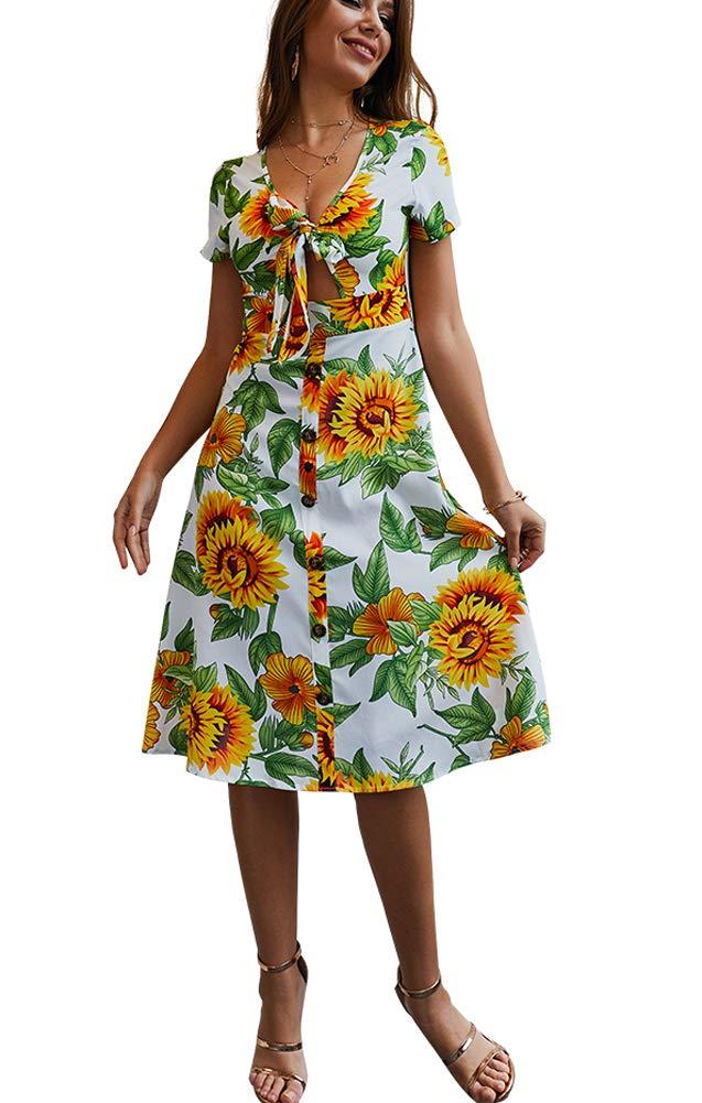 Halfword Womens Summer Boho Midi Dresses - Sunflower V Neck Short Sleeve Front Bow Tie Flared Dress White S