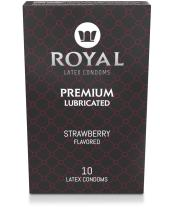 Royal Ultra-Thin Latex Condoms - Strawberry Flavored and Lubricated - Strong, FDA Approved Non-Toxic Latex - All Natural, Organic, Vegan, No Cruelty Contraceptive - Snug Fit, Accurate Sizing - 10 Pack