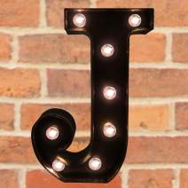Pooqla Decorative LED Illuminated Letter Marquee Sign - Alphabet Marquee Letters with Lights for Wedding Birthday Party Christmas Night Light Lamp Home Bar Decoration J, Black