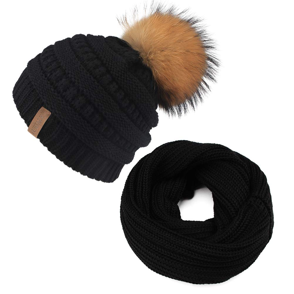 Baby Winter Knit Beanie Hats and Scarf Set Faux Fur Pom Pom Hat Bobble Ski Cap for Girls Boys(1-5 Years)(One Size, black real raccoon pom)