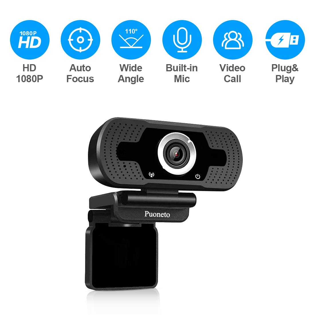 Webcam with Microphone, HD 1080P Computer USB Webcams for Desktop/Laptop External PC Camera Streaming Webcam for Gaming/Video Calling/Recording/Conferencing Supports Windows/Android/Linux System