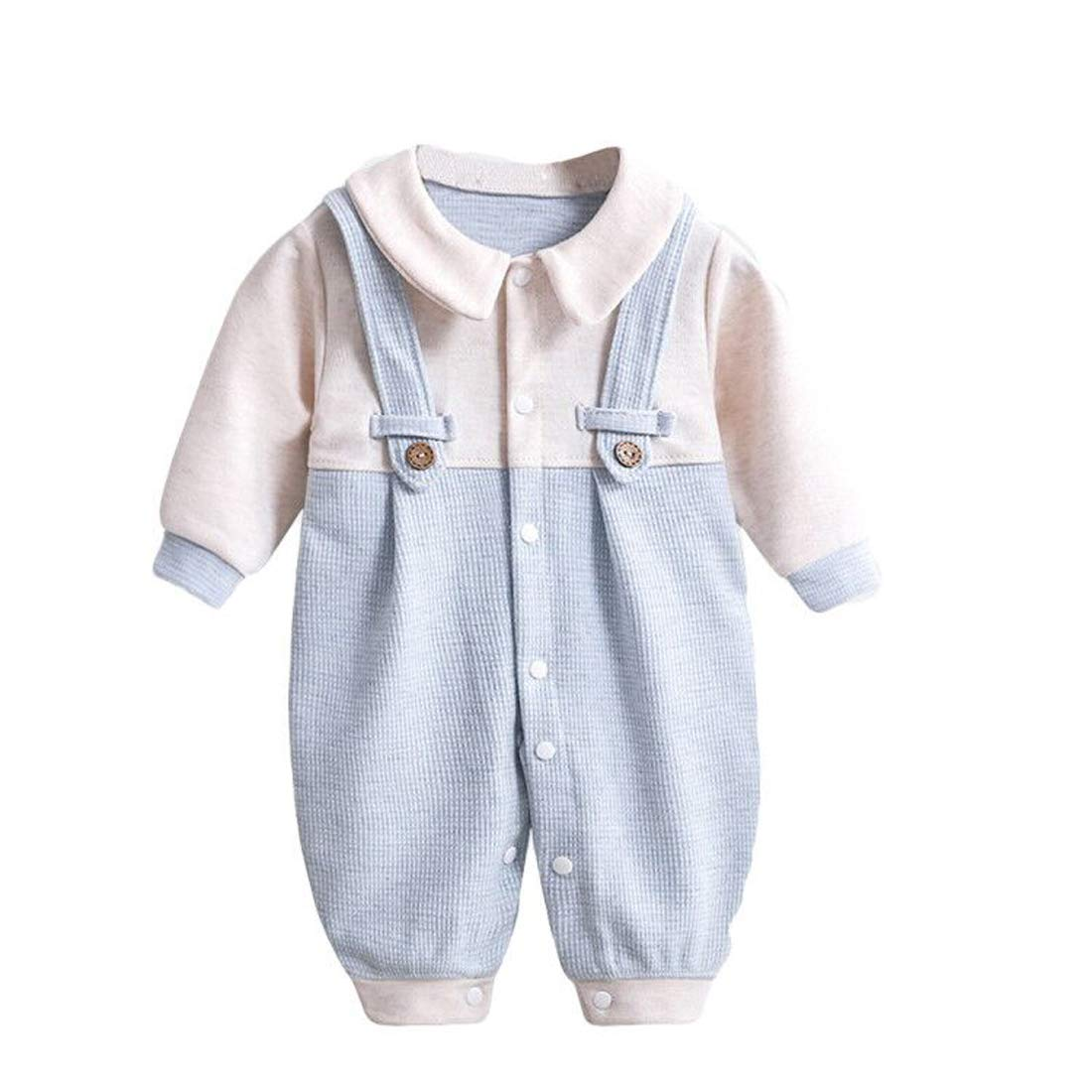 Gaorui Newborn Baby Strap Jumpsuit Outfit - Unisex Cute Infant Boy Girl Long Sleeve Collar Cotton Rompers Baby Boy Clothes