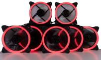 CUK 6-Pack Red Halo Ring 120mm LED Vibrant Color Computer Case Fan for CPU Coolers and Radiators - High Airflow 45 CFM & Anti-Vibration Pads