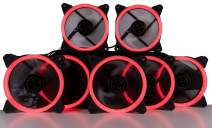 CUK 5-Pack Red Halo Ring 120mm LED Vibrant Color Computer Case Fan for CPU Coolers and Radiators - High Airflow 45 CFM & Anti-Vibration Pads