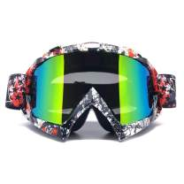 ZDATT Motorcycle Motocross Goggles, Adult ATV Racing Goggles Dirt Bike Goggle Glasses and Ski Snowborading