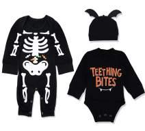 Newborn Baby Boy Girl Halloween Costumes Bone Romper+Bodysuit+Bat Hat 3PCs Halloween Outfit Set